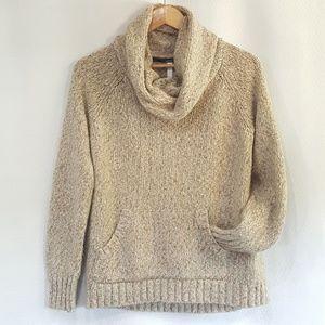 Kensie Oatmeal Cowl Turtleneck Oversized Sweater